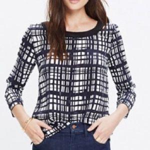 Madewell silk retrospect brushstroke plaid blouse